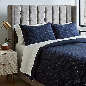Rivet Modern Duvet Comforter Cover with Geometric Pattern, Full / Queen, Navy