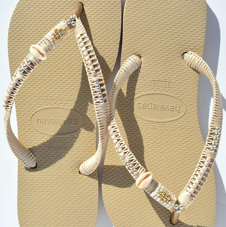 Amazon Com Boho Wedding Flip Flops Bridal Flat Shoes Women S