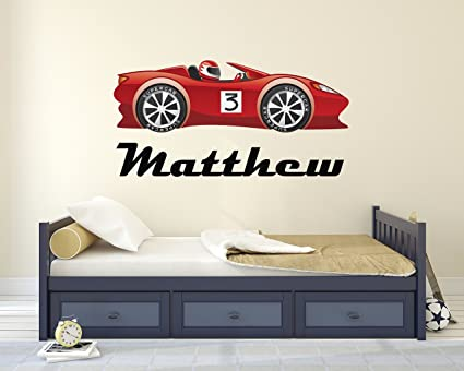 Personalised Racing Name Wall Decal 30W x 16H Racing Name Wall Decal Race Car Theme Nursery Baby Room Mural Art Decor Vinyl Sticker
