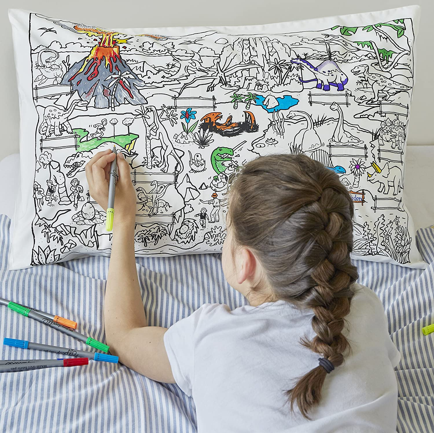 Amazoncom Doodle Dinosaur Pillowcase Color Your Own Pillow Case
