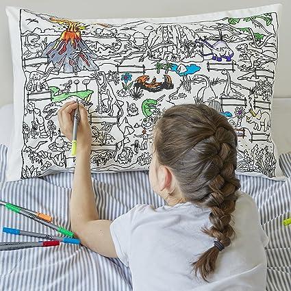 Amazon.com: eatsleepdoodle Doodle Dinosaur Pillowcase, Color Your ...