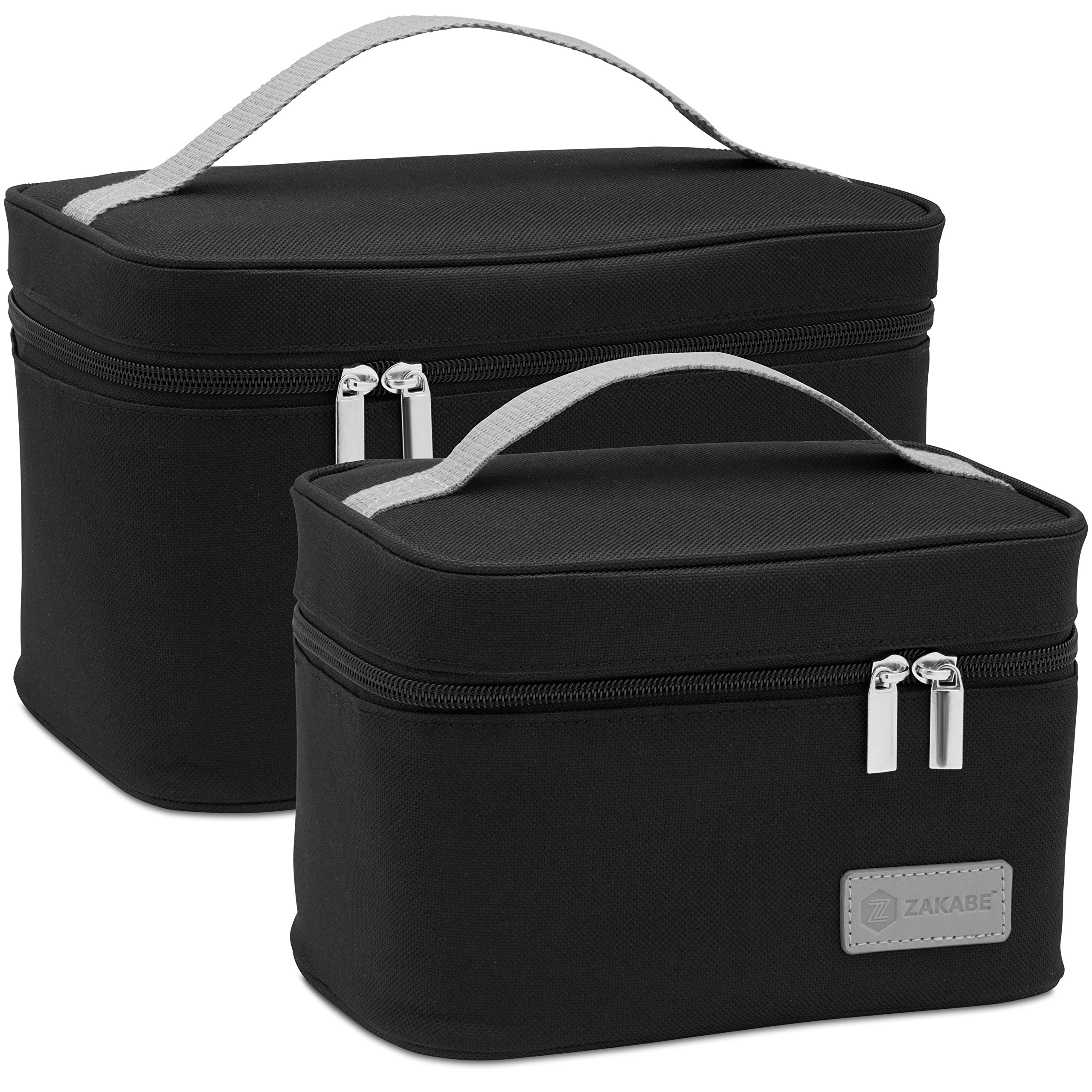 Zakabe Lunch Bag, Lunch Box, Cooler Bag, Set of 2 Sizes, Insulated, for Women, Kids, Adults, Men, Work or School - Black by Zakabe (Image #1)