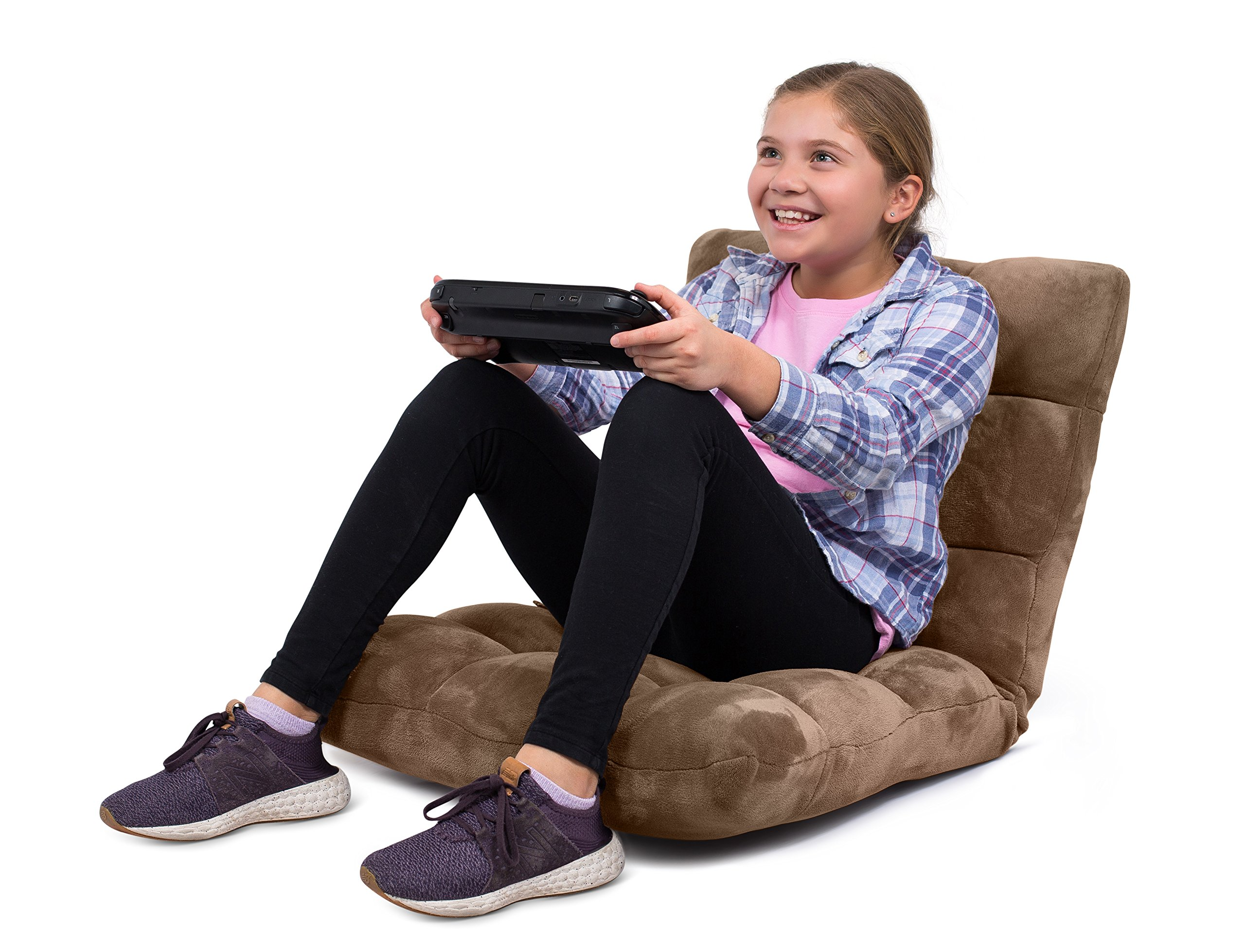 BirdRock Home Adjustable 14-Position Memory Foam Floor Chair | Padded Gaming Chair | Comfortable Back Support | Rocker | Great Reading Games Meditating | Fully Assembled | Brown