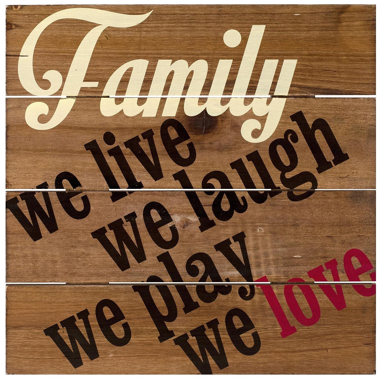 Barnwood 12x12 Malden International Designs Rustic Wall Family We Live We Laugh We Play We Love Silkscreened Wood Pallet Rustic Wall Sign