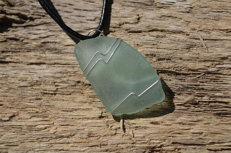 Light Sea Foam Wire Wrapped Sea Glass Necklace