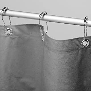 "product image for Bean Products Organic Cotton Shower Curtain - 70"" x 74""  - Gray Star - Also Cotton , Hemp - Tub , Bath , Stall Sizes - Made in USA w/Rings"