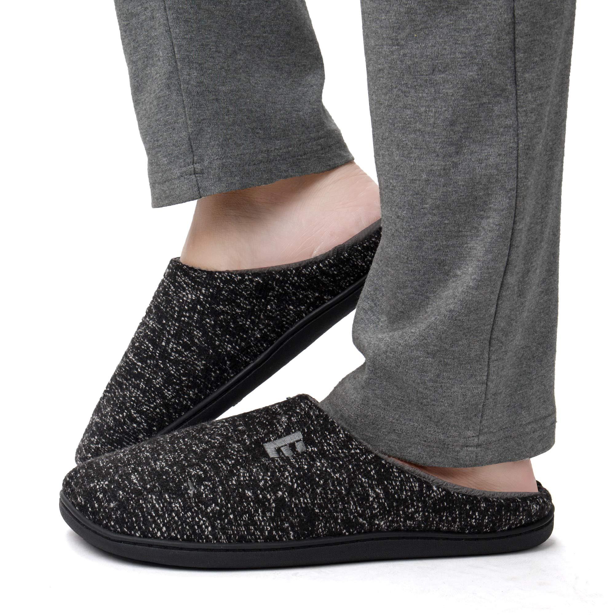 EAST LANDER Men's Memory Foam House Slippers Soft Sole Anti-Slip Slippers Indoor Shoes ELMT003-M1-L
