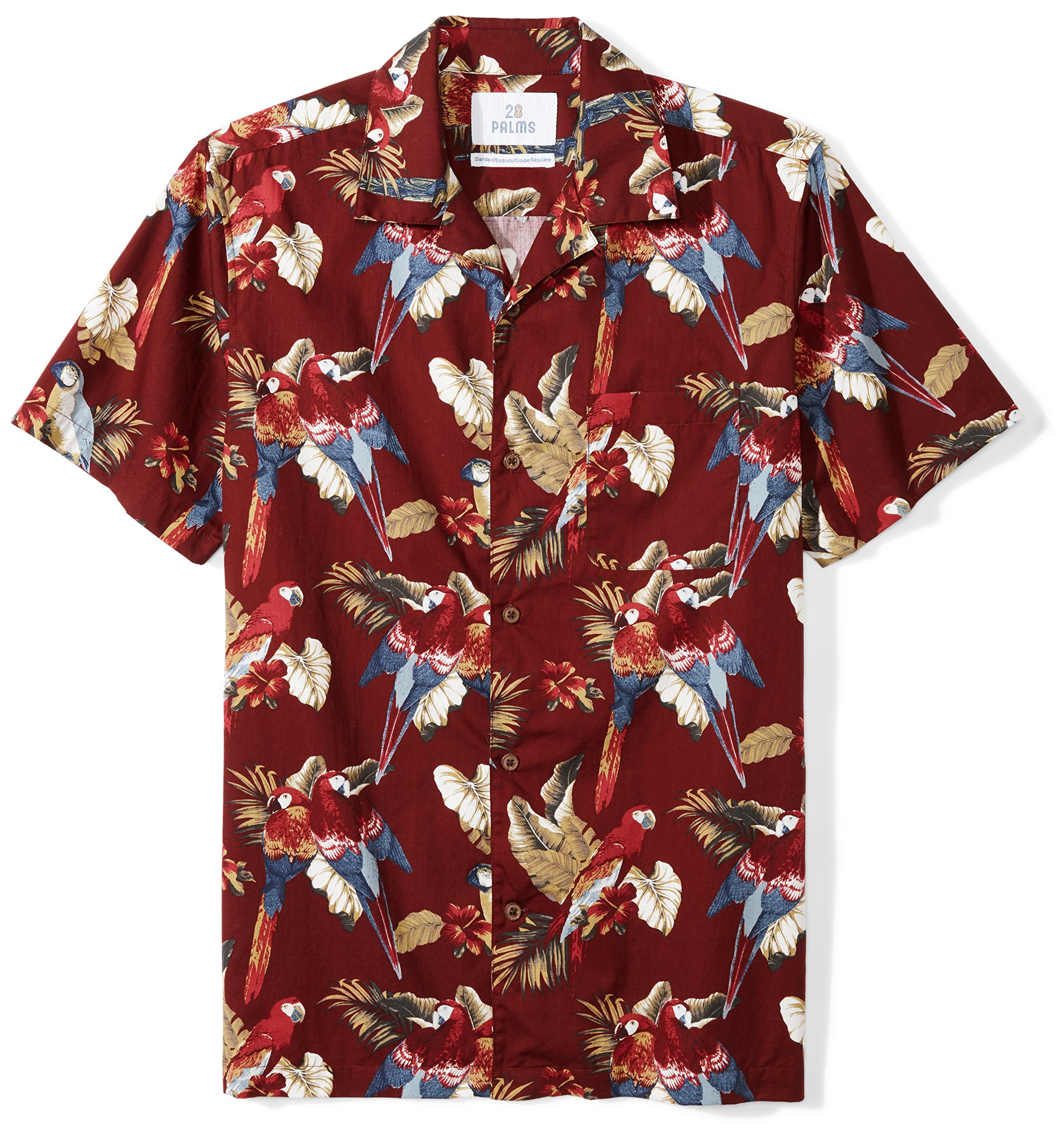 28 Palms Men's Standard-Fit 100% Cotton Tropical Hawaiian Shirt, Red Parrot, X-Large by 28 Palms