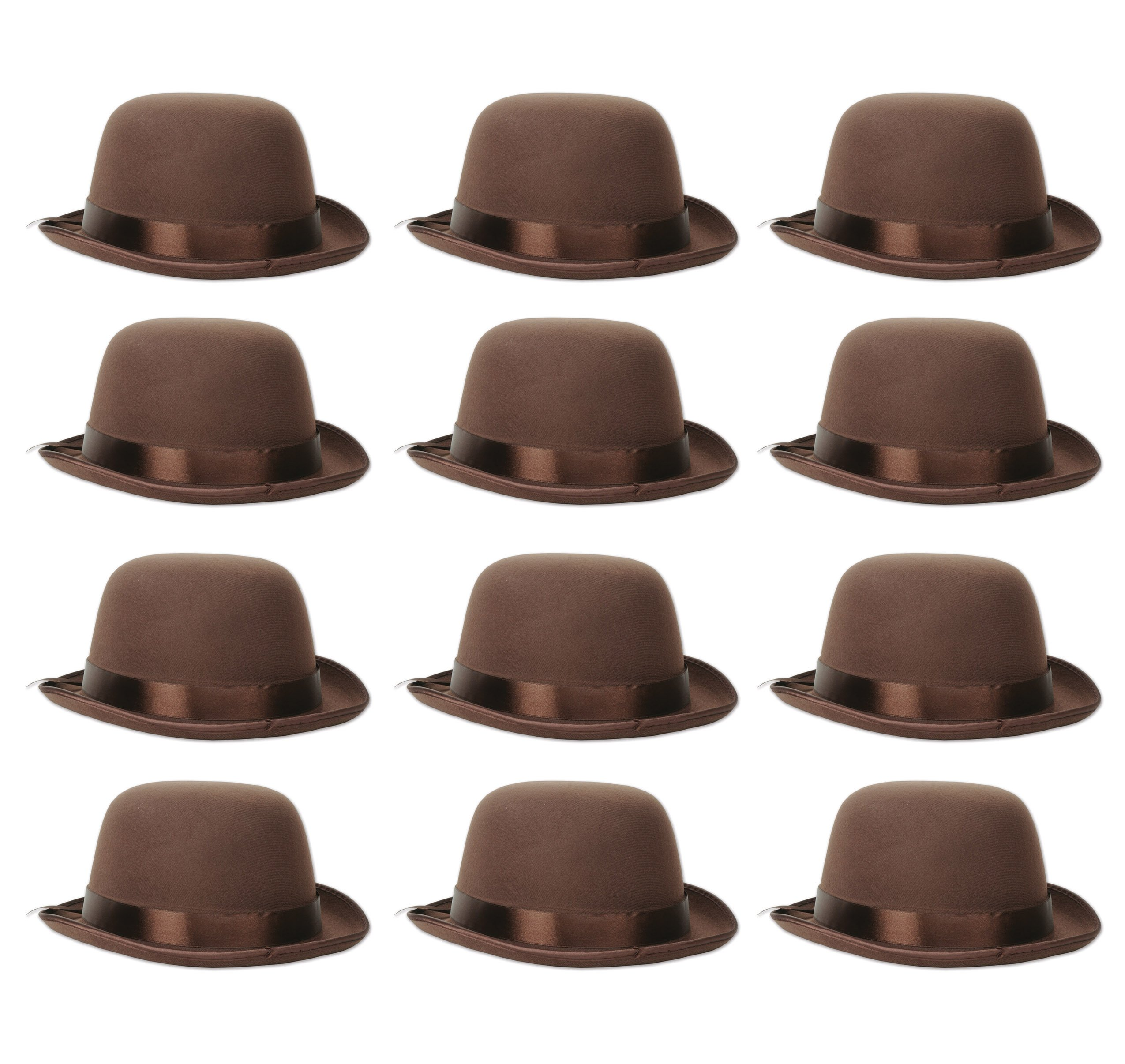 Beistle 60336 12 Piece Bowler Hats, Brown by Beistle