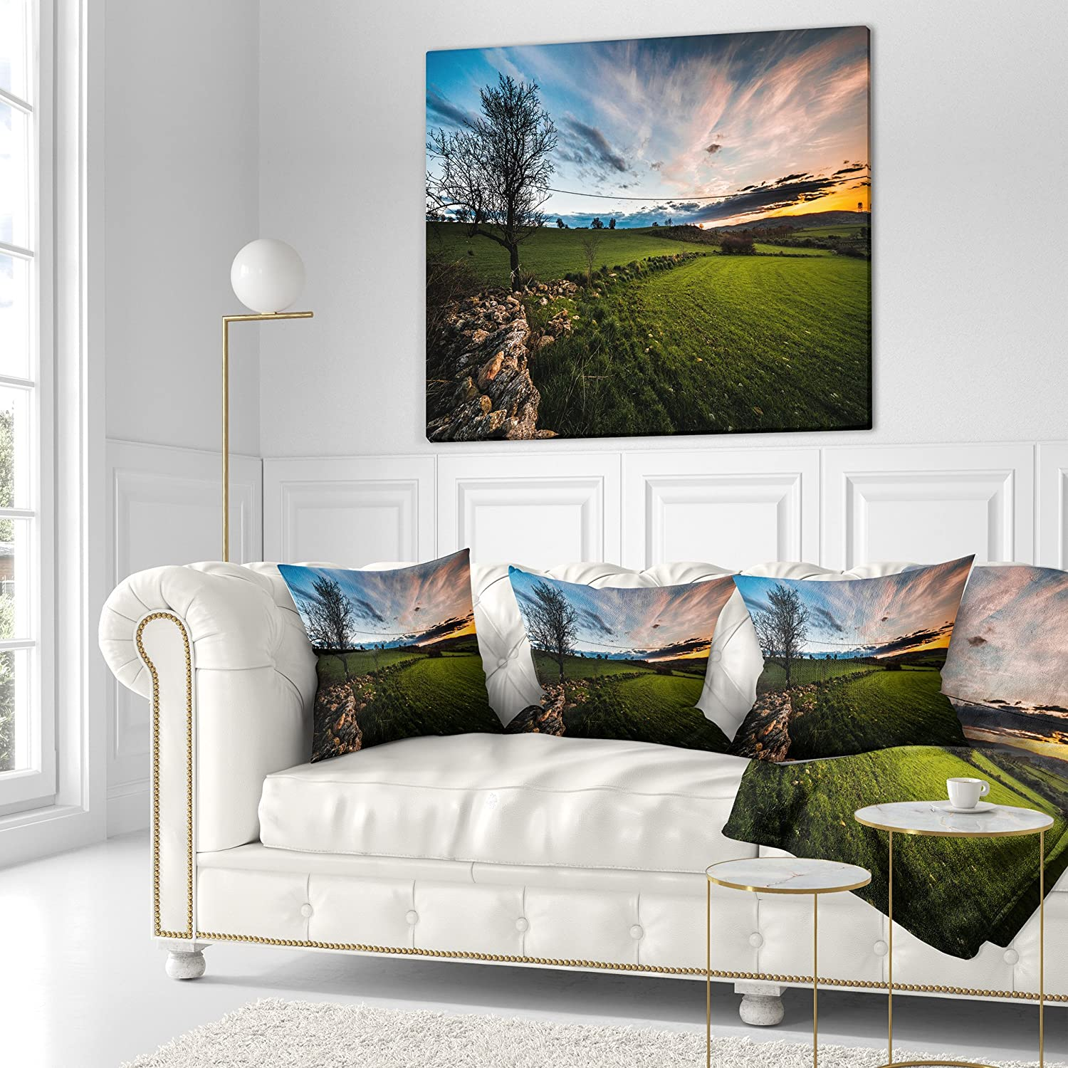 Designart CU14307-18-18 Beautiful Green Meadow in Sardinia Landscape Printed Cushion Cover for Living Room Sofa Throw Pillow 18 in in x 18 in