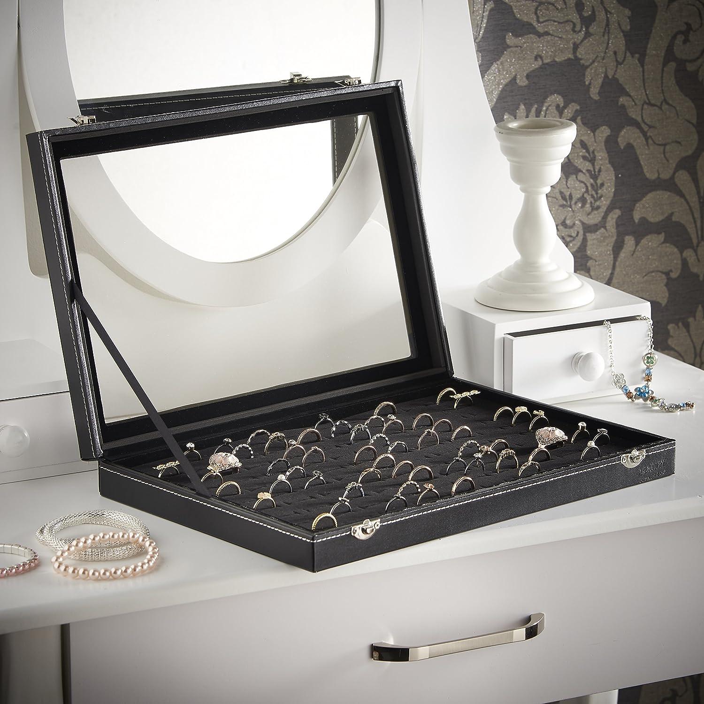 Amazoncom Beautify 100 Slot Ring Box Jewelry Organizer Display