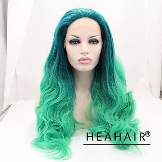 Heahair® Green Ombre Wave Handtied Synthetic Lace Front Wig Hs0015