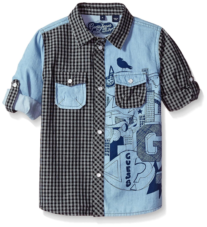 Guess Boys' Little Roll Up Sleeve Plaid Denim Shirt