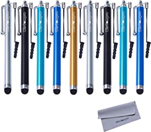 Stylus, Wisdompro 9 Pack Rubber Tip Stylus Bundle of 4.5 Inch Colorful Universal Styli with Lanyard Tether for Capacitive Touch Screen iPhone iPod iPad Samsung Smartphone (5-Color Guy Pack)