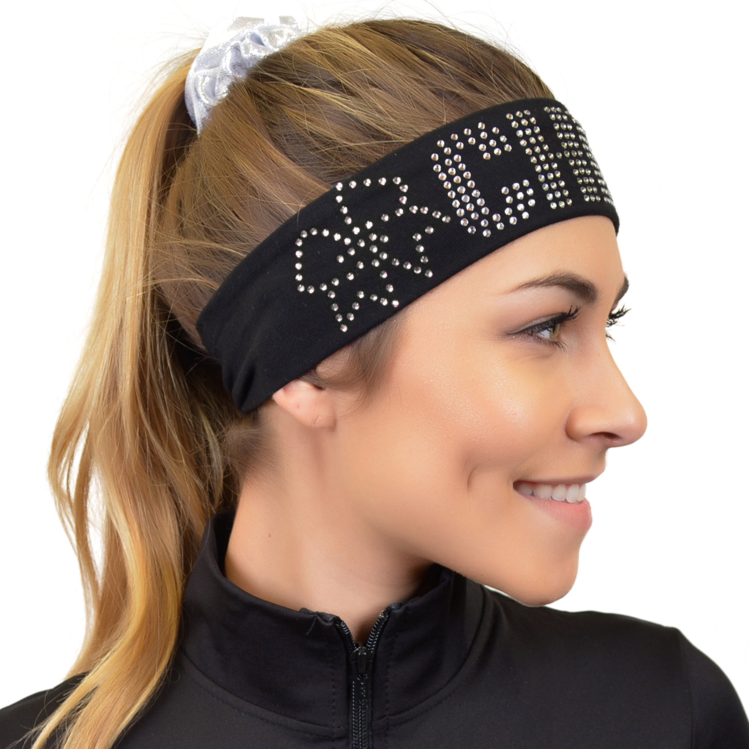 Stretch Is Comfort Girl's CHEER Rhinestone Wide Cotton Headband Black by Stretch is Comfort (Image #1)