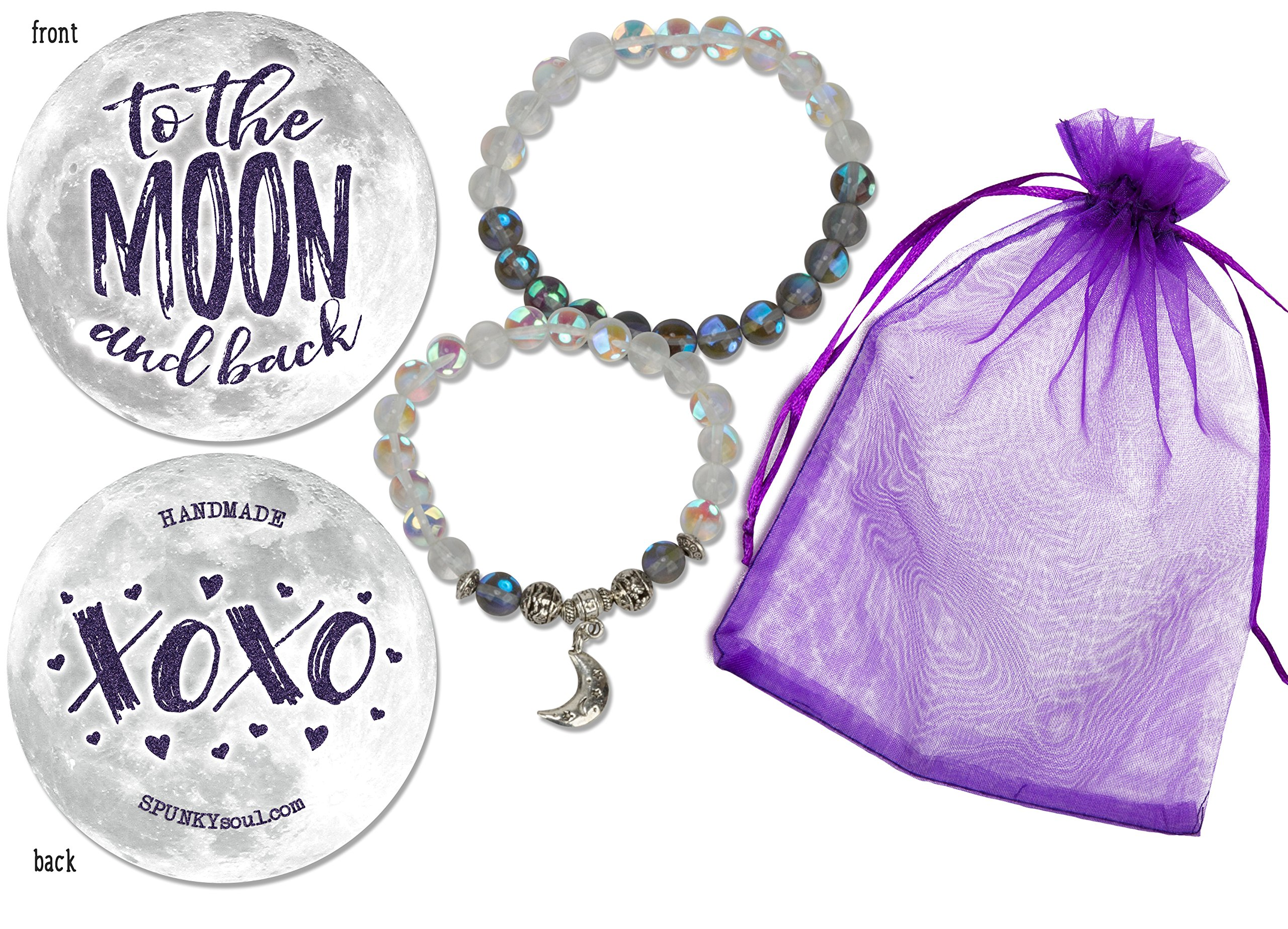 SPUNKYsoul New! Handmade Man-made Moonstone 2 Piece Set Love You To The Moon Bracelet Silver Charm for Women Collection