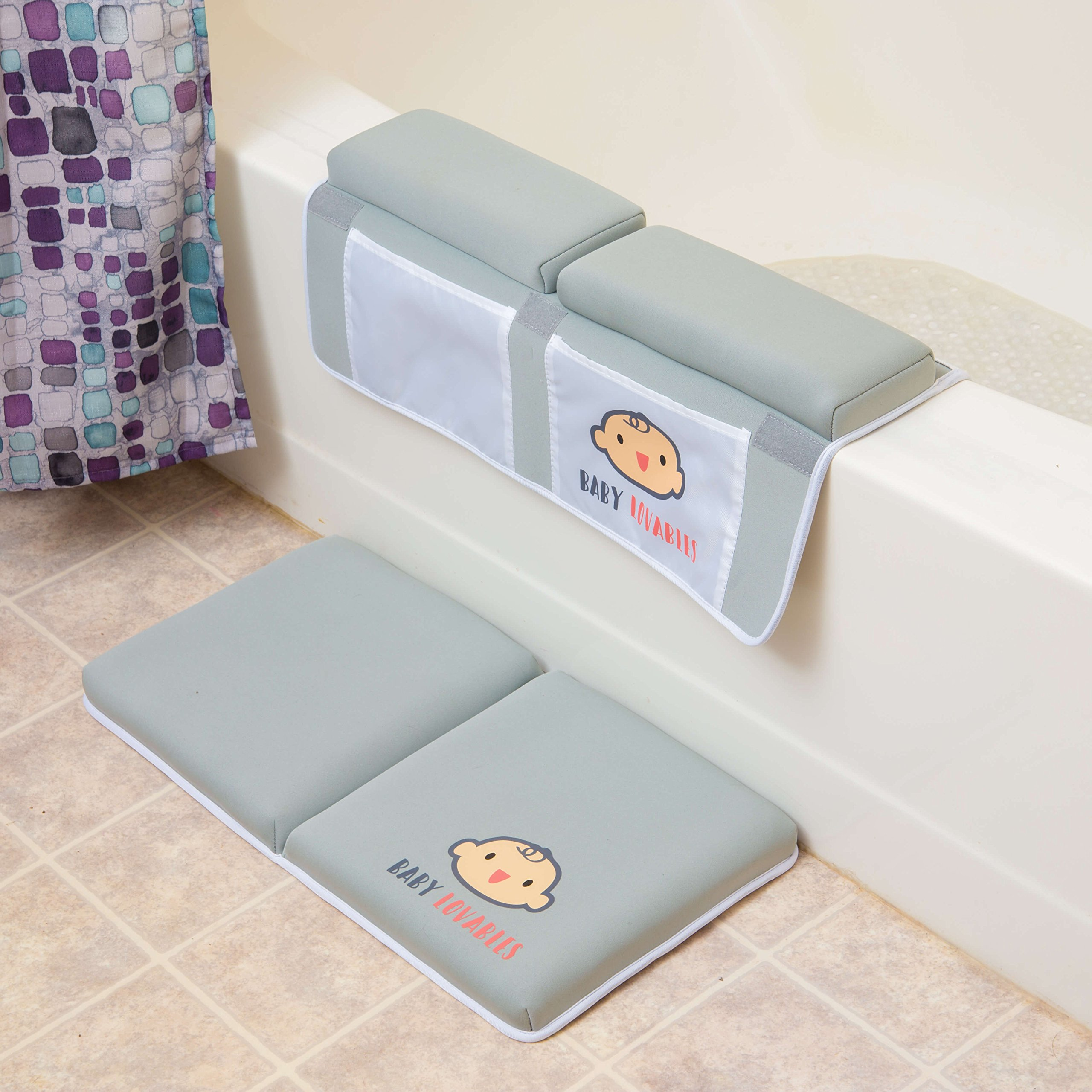 Bath Kneeler with Elbow pad Rest Set- Padded Knee mat for tub Bathing and Bathroom time. Bathtub Kneeling Waterproof Cushion mats for Infant or Baby Toy Accessories. Bathtime Knee Saver. Shower Gift. by BABY LOVABLES