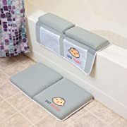 Bath kneeler with elbow pad rest set - 4 large caddy pockets- toy storage and baby bath accessories, extra thick and wide cushioned bath mat. Premium gray bathtub knee pad mat for comfort and safety.