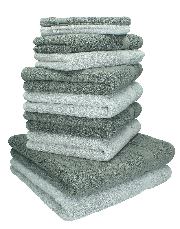 BETZ - Juego de toallas Premium, 100% algodón, 10 piezas: 2 toallas de baño, 4 toallas de mano, 2 toallas de visitas, 2 manoplas de baño (Color: gris ...