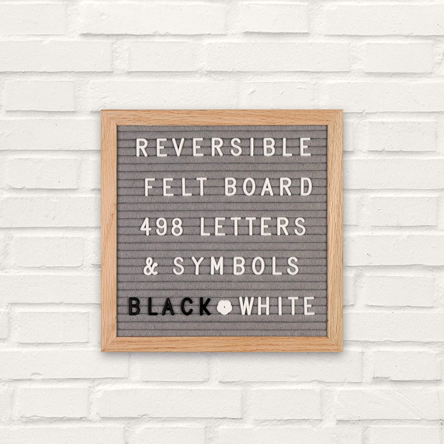 """Emoji And Symbols Premium Oak Wood Felt Letter Board Double Sided 10/""""/×10/"""" Grey// Black Great Gift Idea 2 Free Cotton Bags Complete Package Numbers 498 Black And White Letters Oak Stand"""