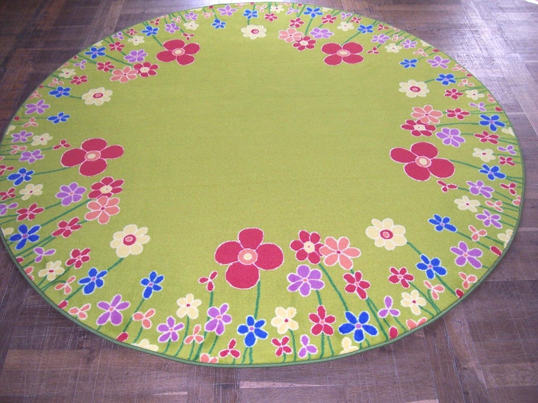 Kinderteppich blumenwiese  Kinderteppich Blumenwiese gelbgrün Velours 200 cm rund (170120131 ...