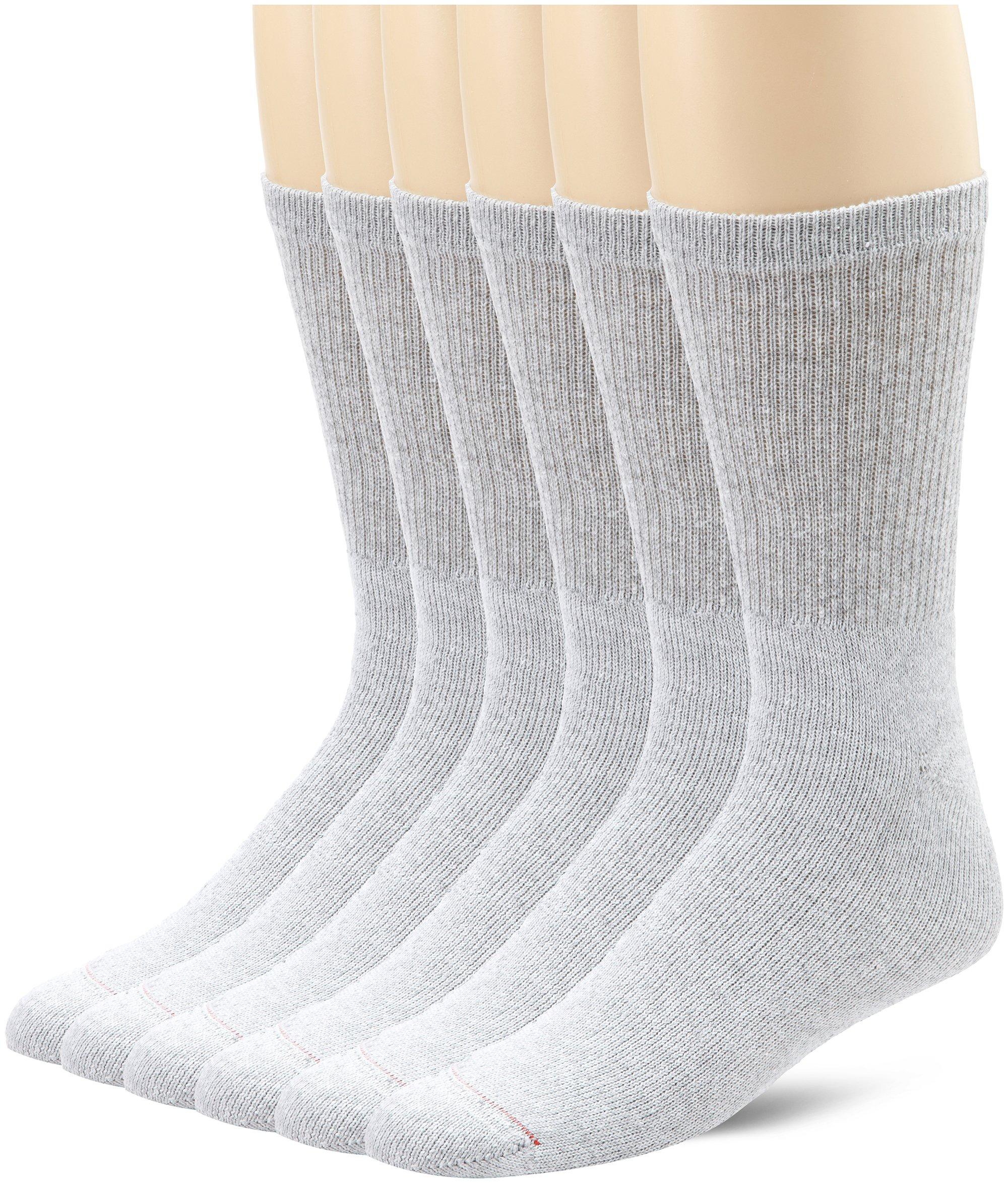 Hanes Active Crew Socks, 6 pack (Sock 10-13/Shoe 6-12/Grey)