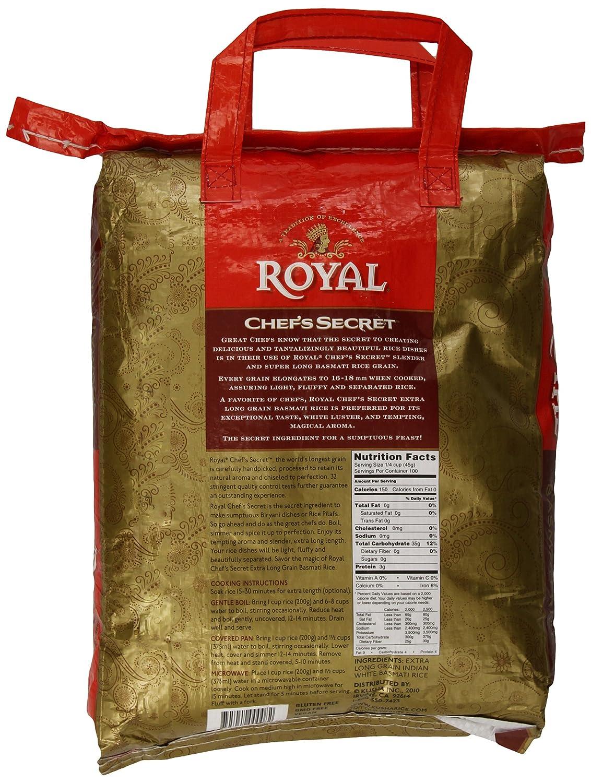 Amazon : Royal Chef's Secret Extra Long Grain Basmati Rice, 10 Pound : Basmati  Rice Produce : Grocery & Gourmet Food