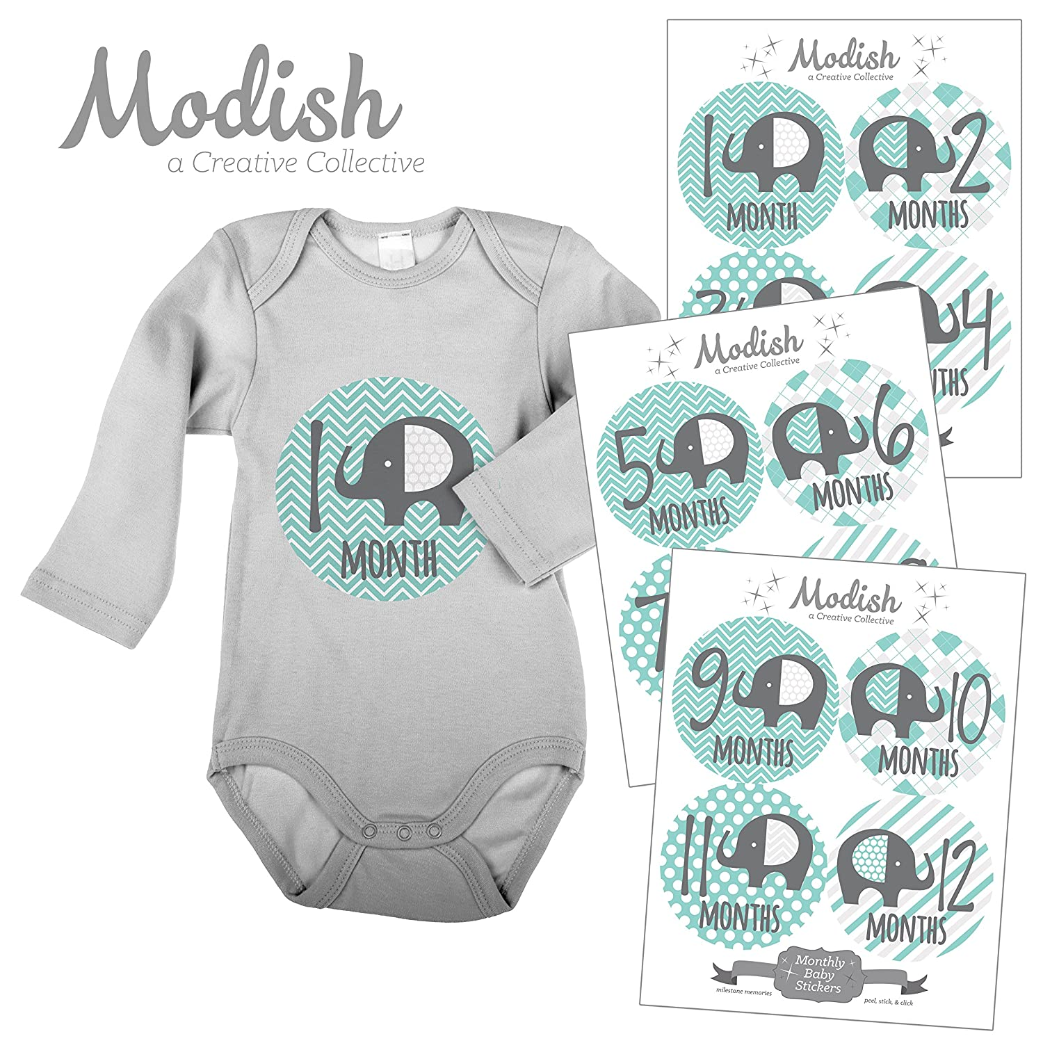 Modish - Creative Collective Baby Stickers, Elephants, Baby Boy, Elephant Baby Belly Stickers, Elephant Baby Month Stickers, First Year Stickers Months 1-12, Teal, Mint, Elephants, Boy, Grey Modish Labels Inc. 687847978220