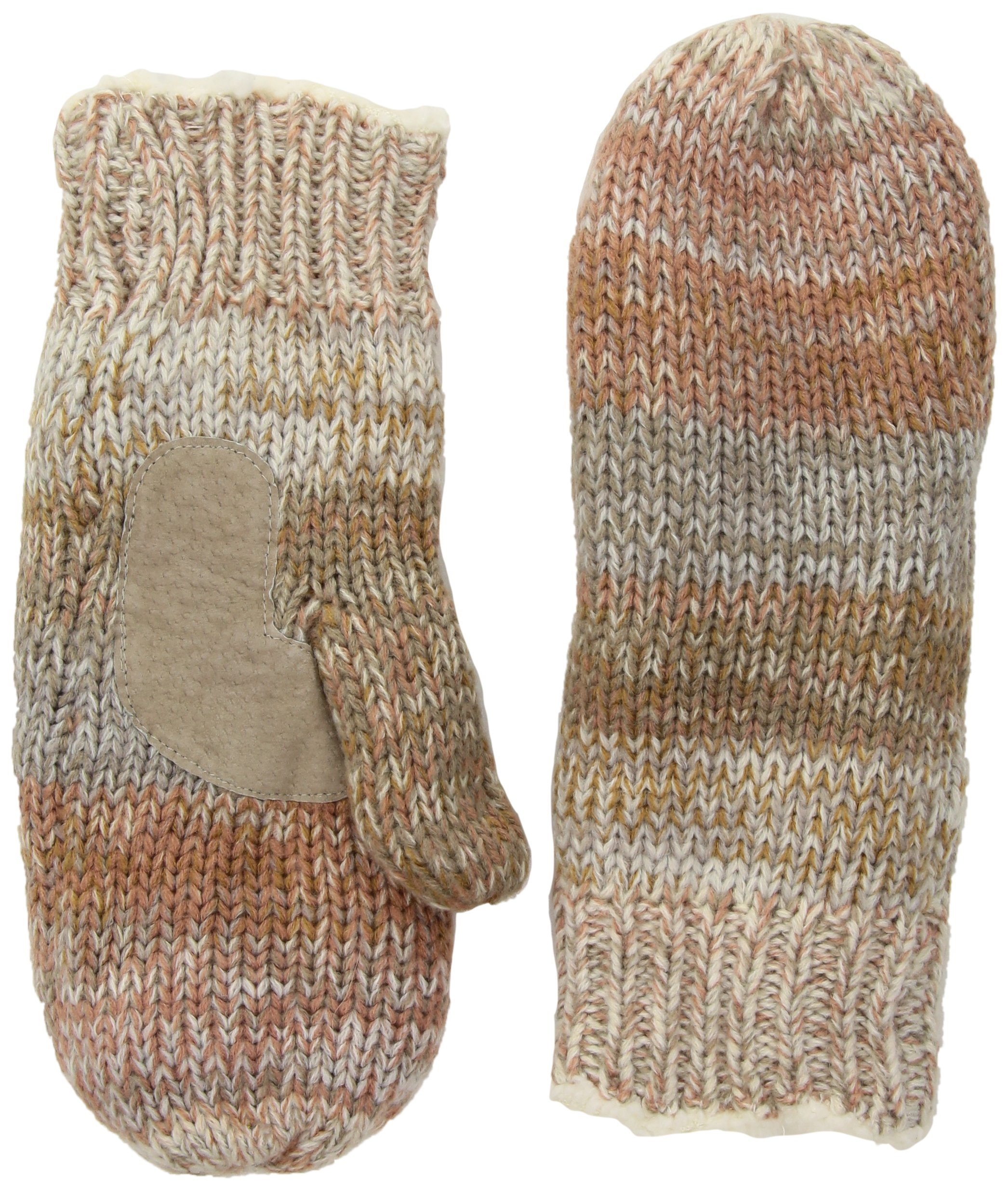 Isotoner Women's Chunky Cable Knit Sherpasoft Mittens, Ivory/Multi, One Size