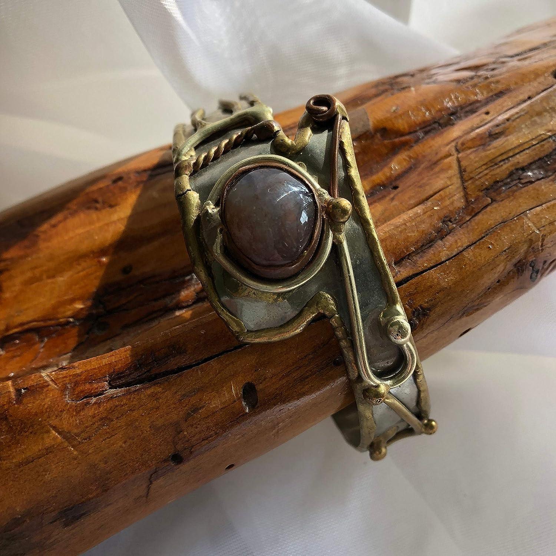 Vintage Artisan Mixed Metals Hammered Brutalist//Medieval Cuff Bracelet