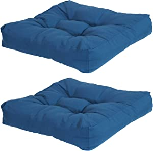 Sunnydaze Set of 2 Tufted Square Patio Cushions for Indoor/Outdoor Patio Furniture - Replacement Cushions with Olefin Fabric for Chairs and Seating - Seat Pads for Porch, Deck and Garden Seats - Blue