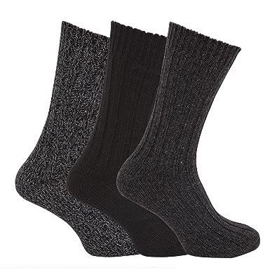 Calcetines gruesos térmicos con lana para botas hombre/caballero - Pack de 3 pares de calcetines: Amazon.es: Ropa y accesorios