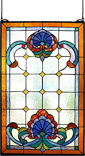 Happy Living Time Extra Large Transom Window Tiffany Style Victorian Stained Glass Window Panels Hanging 20 X 32