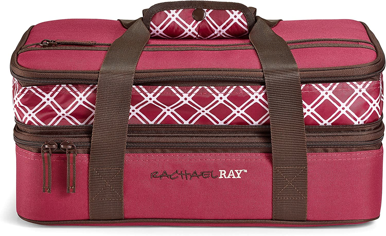 "Rachael Ray Expandable Lasagna Lugger, 16.5"" X 10.5"" X 6.8"", Burgundy"
