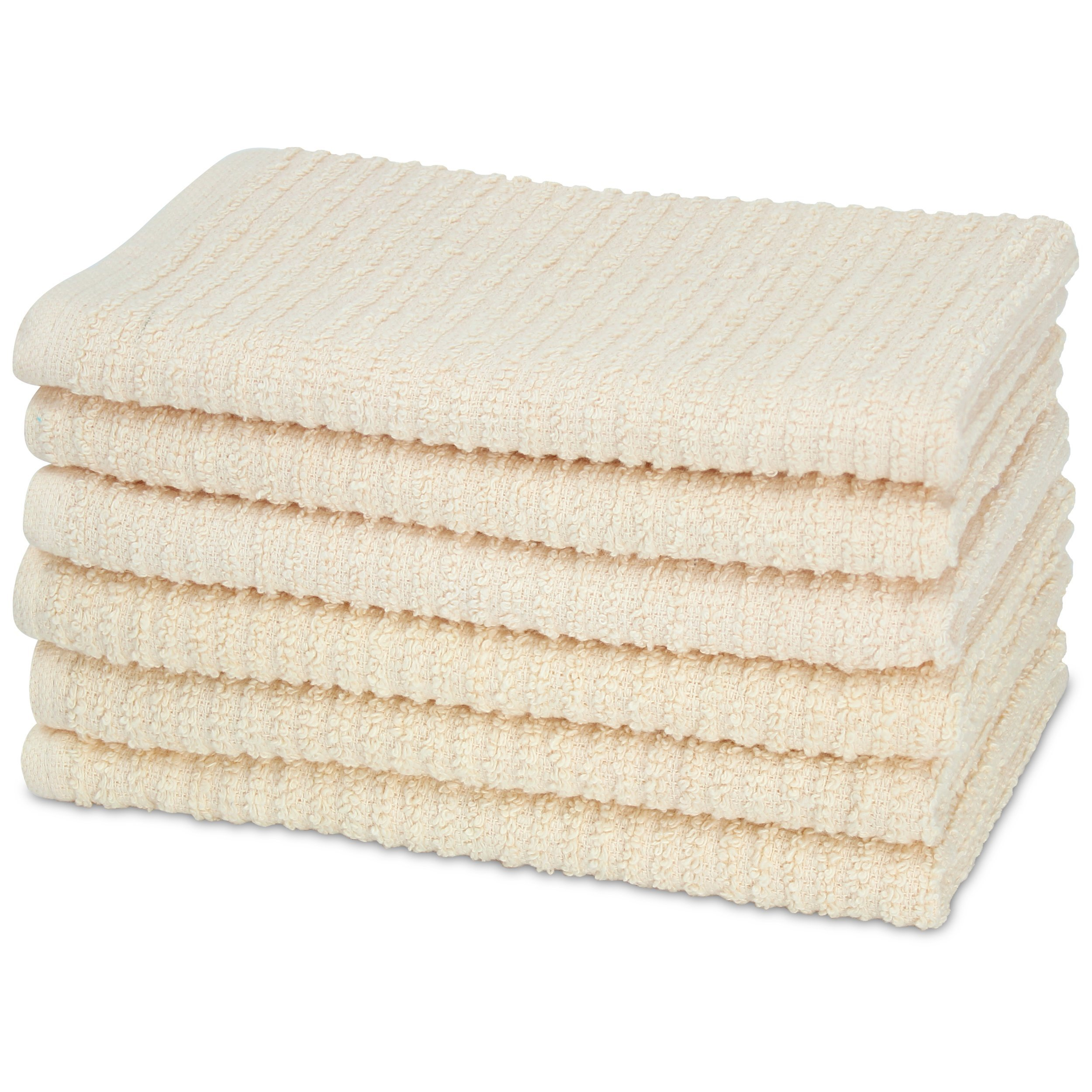 HomeCrate All Purpose Heavy Weight Kitchen Bar Mop Towels, Super Absorbent 100% Cotton - 16'' x 19'', Set of 6, Ivory
