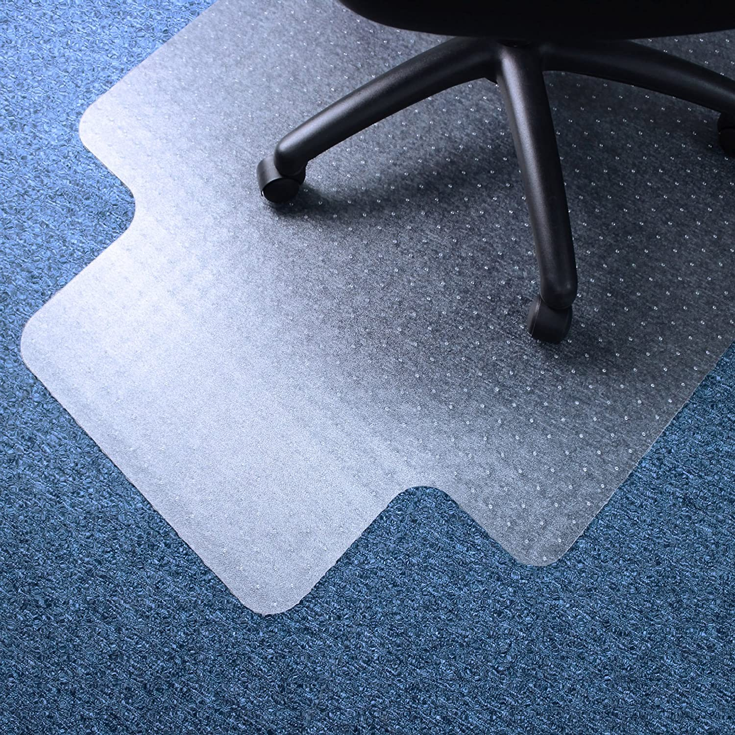 "Marvelux 45"" x 53"" Vinyl (PVC) Lipped Chair Mat for Very Low Pile Carpets 