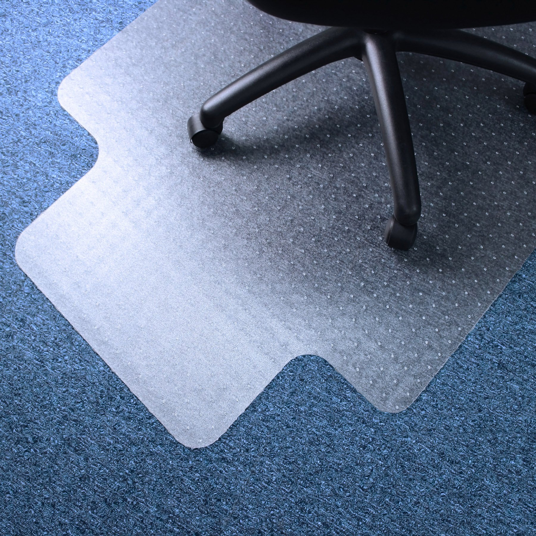 Marvelux 45'' x 53'' Vinyl (PVC) Lipped Chair Mat for Very Low Pile Carpets | Transparent Carpet Protector | Multiple Sizes