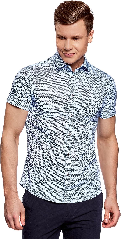 oodji Ultra Hombre Camisa Entallada Estampada