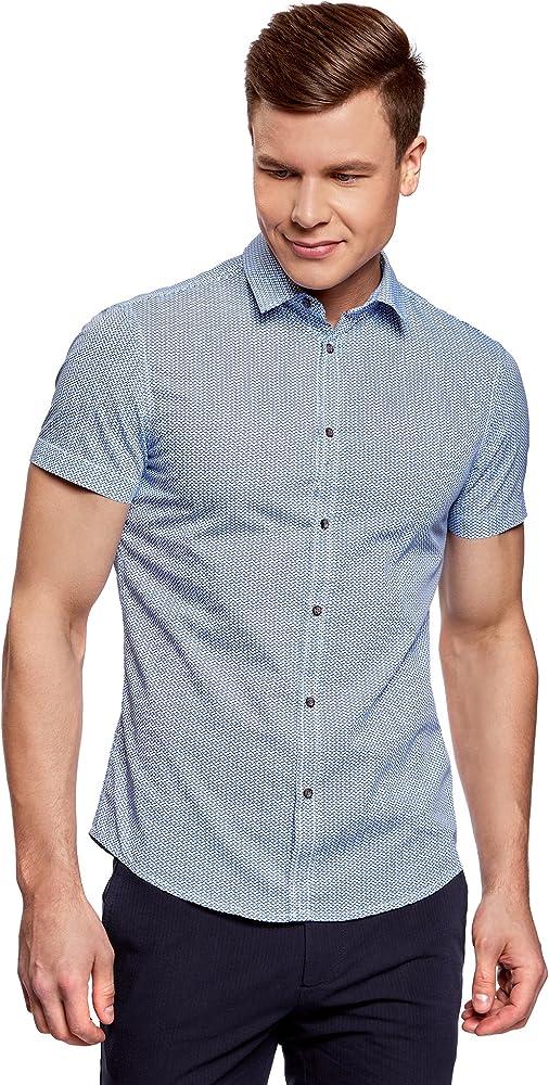oodji Ultra Hombre Camisa Entallada Estampada, Azul, 50: Amazon.es: Ropa y accesorios