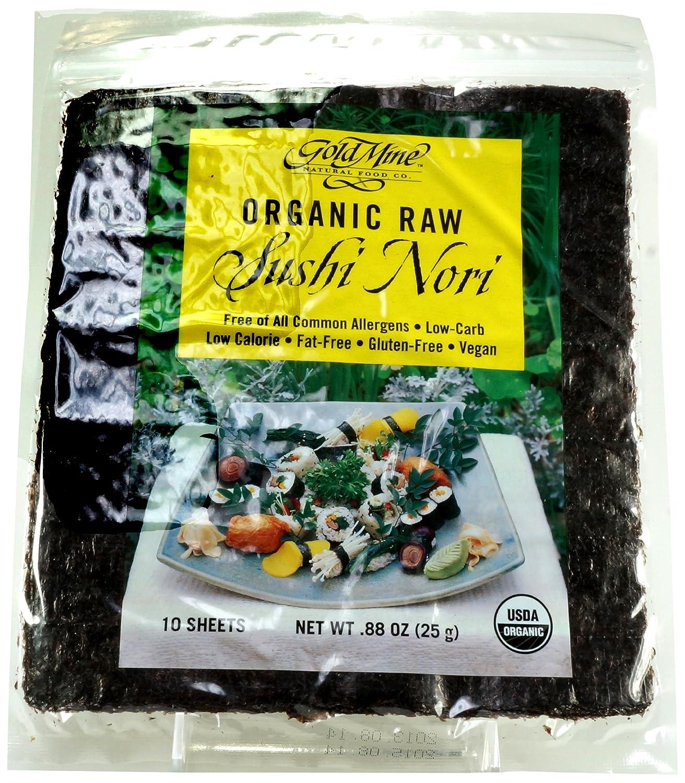 Gold Mine Organic Raw Sushi Nori - Macrobiotic, Vegan, Kosher and Gluten-Free - 10 Sheets, 0.88 Ounce