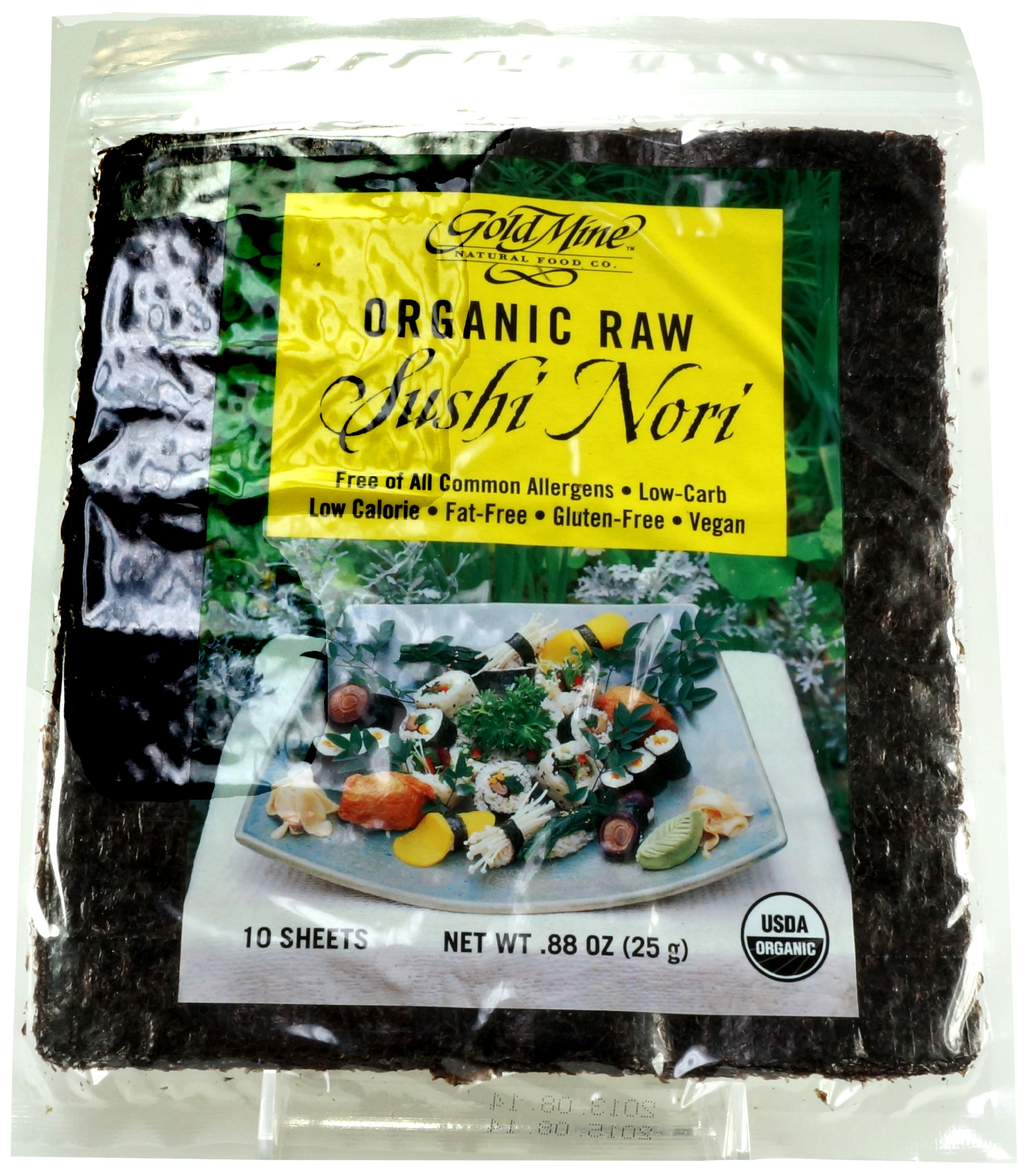 Gold Mine Organic Raw Sushi Nori, 10 Sheet, 0.88 Ounce