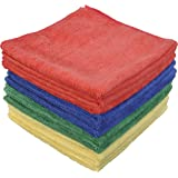 Eurow Microfiber Commercial Towels 16 x 16 300 GSM 12-pack 4 colors