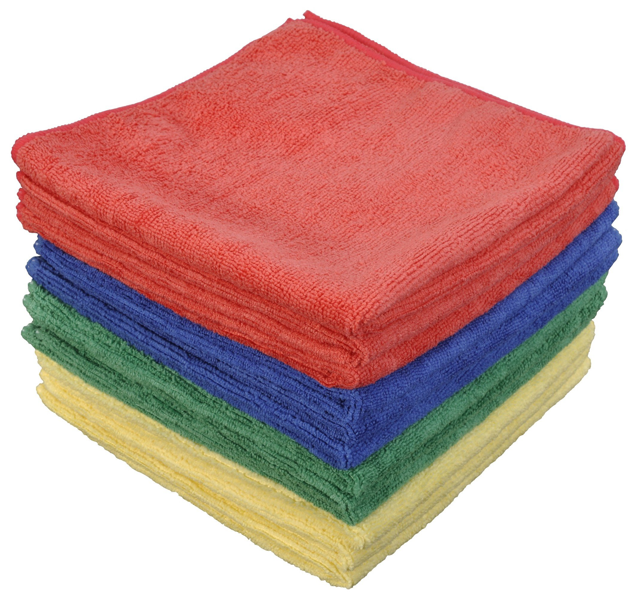 CleanAide Eurow Microfiber Commercial Fast Dry Towels 16 x 16 Inches 300 GSM 12-pack 4 colors