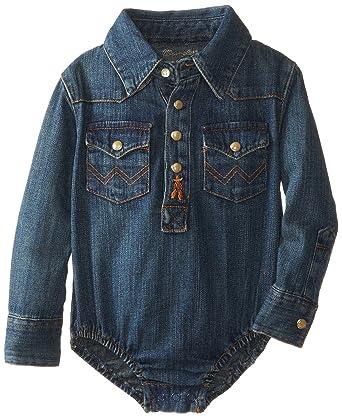 d5bef1f4 Amazon.com: Wrangler Baby-Boys Newborn Infant Long Sleeve Denim Bodysuit:  Clothing