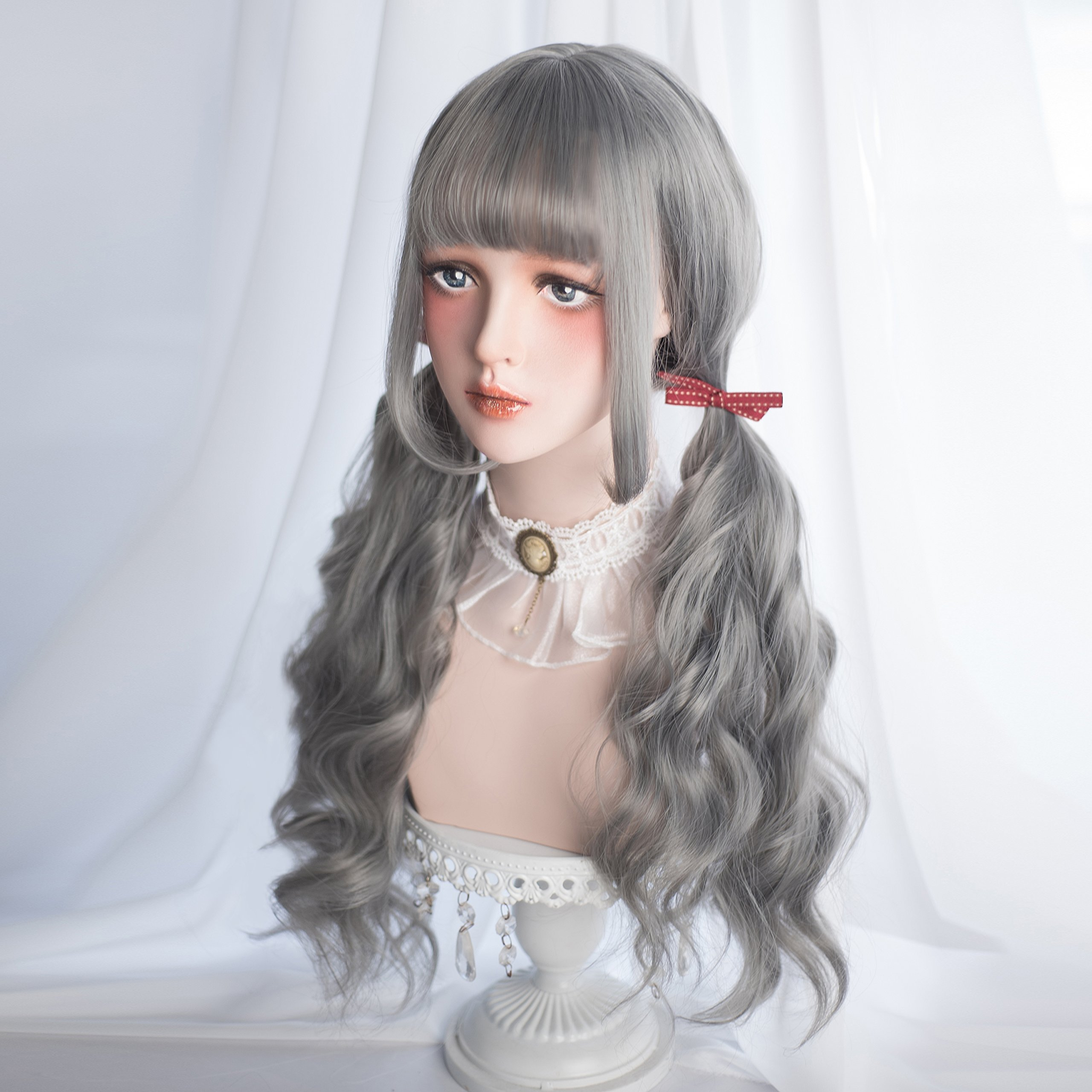 Long Wavy Grey Wig Bangs - Natural Gray Wigs for Women and Girls Cosplay Costume, Lolita Style Synthetic Hair with Wig Cap