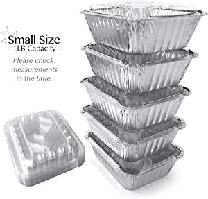 55 Pack - SMALL 1LB, Aluminum Pans With Lids/To Go Containers/Disposable Foil Pans/Take Out Containers/Foil Pan/Aluminum Foil Food Containers from Spare Essentials Size 5.5''x4.5''x1.9''