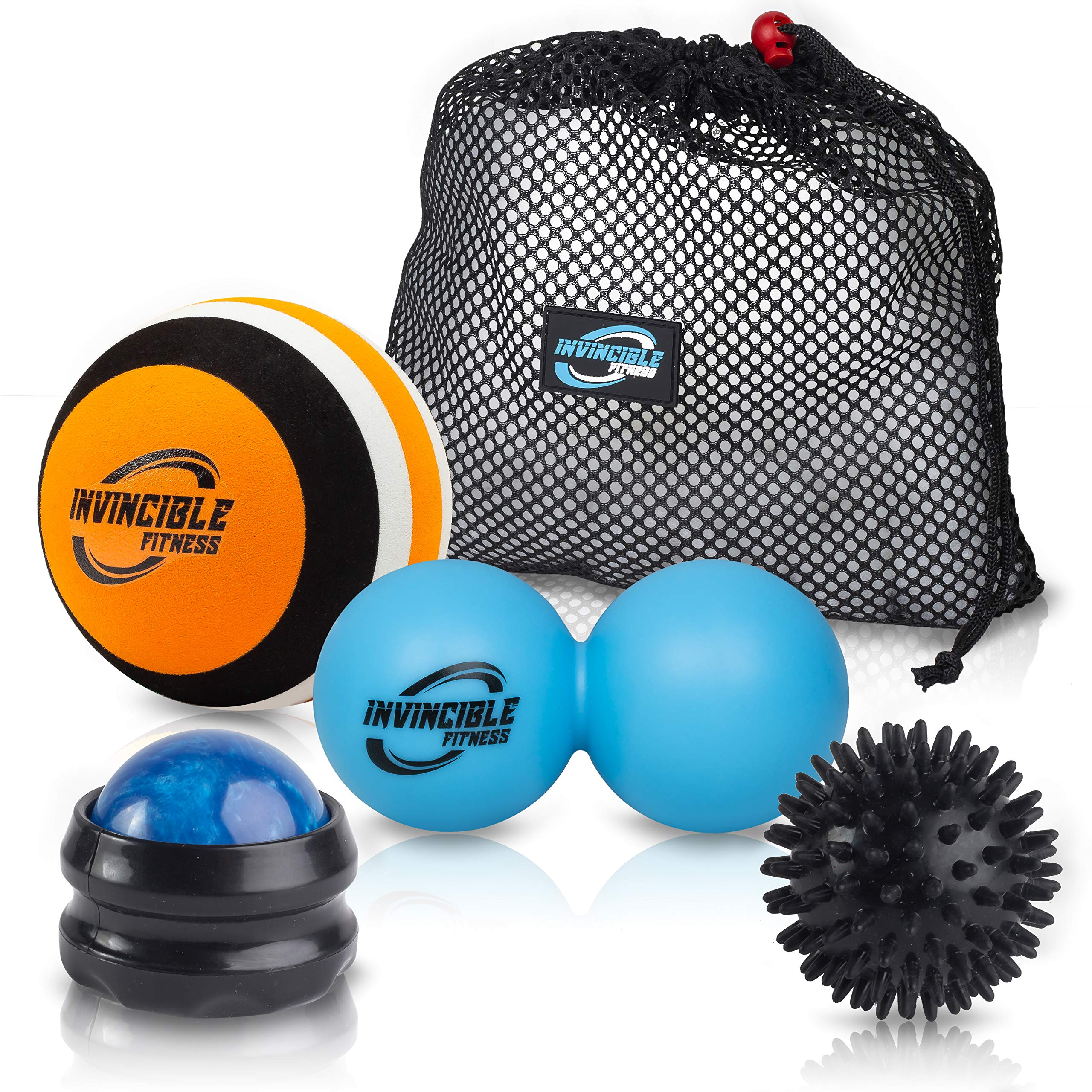 Invincible Fitness Therapy Massage Balls Set, Trigger Point Ball, Double Peanut Lacrosse Massager, Manual Muscle Roller Massage Ball, Spiky, Ideal for Self-Myofascial Release, Deep Tissue, Acupressure by Invincible Fitness