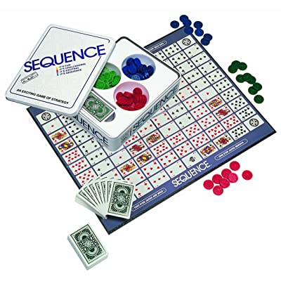 Jax Sequence in a Tin - Original Sequence Game with Folding Board, Cards and Chips: Toys & Games