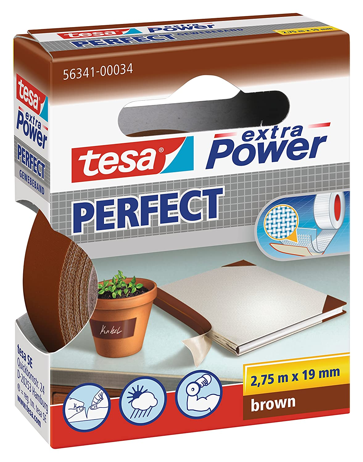 tesa extra Power / 563410003402 Bande adhésive Marron 19 mm x 2.75 m