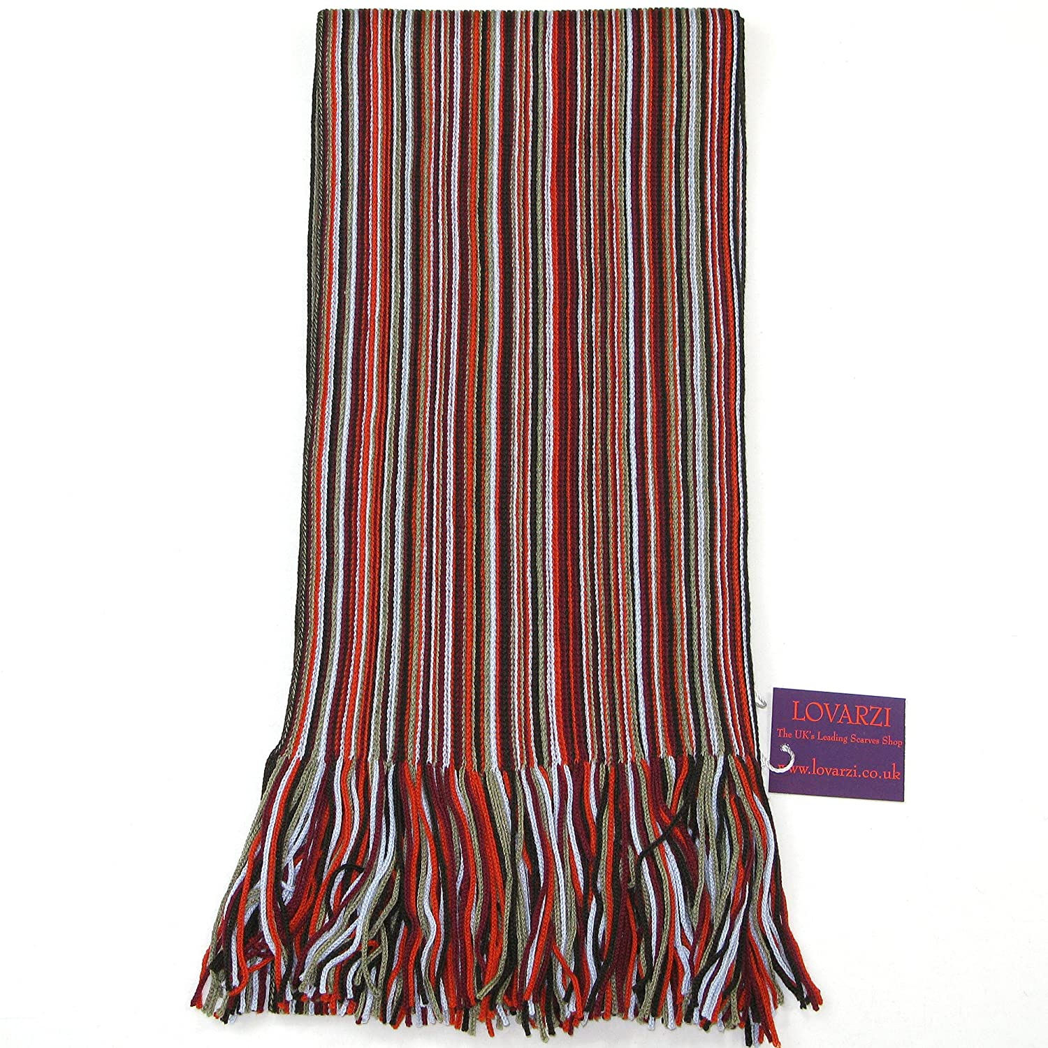 Lovarzi Men's Scarf - Beautiful Fine Merino Wool Winter Striped Scarf for Men Orange